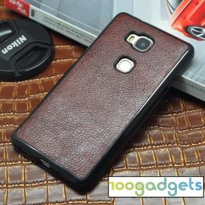 Чехол накладка текстурная отделка Кожа для Huawei Honor 5X Коричневый