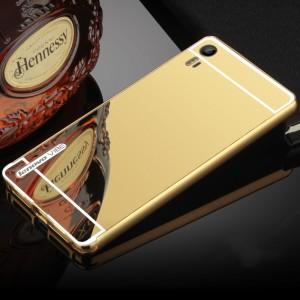 Двухкомпонентный чехол c металлическим бампером с поликарбонатной накладкой и зеркальным покрытием для Lenovo Vibe Shot