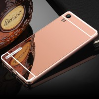 Двухкомпонентный чехол c металлическим бампером с поликарбонатной накладкой и зеркальным покрытием для Lenovo Vibe Shot  Розовый