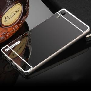 Двухкомпонентный чехол c металлическим бампером с поликарбонатной накладкой и зеркальным покрытием для Lenovo Vibe Shot  Черный