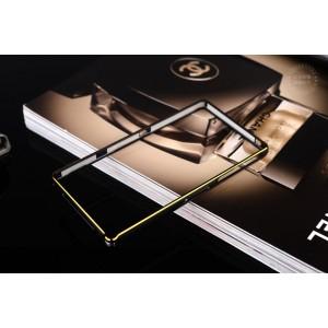 Металлический прямоугольный бампер на пряжке с золотой окантовкой для Sony Xperia Z1  Черный