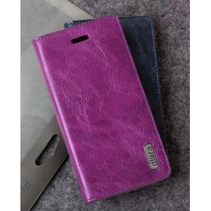 Винтажный чехол горизонтальная книжка подставка на пластиковой основе с отсеком для карт на присосках для Sony Xperia Z1  Фиолетовый