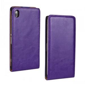 Чехол вертикальная книжка на пластиковой основе на магнитной защелке для Sony Xperia Z1  Фиолетовый