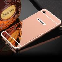 Двухкомпонентный чехол c металлическим бампером с поликарбонатной накладкой и зеркальным покрытием для Lenovo S90  Розовый