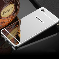Двухкомпонентный чехол c металлическим бампером с поликарбонатной накладкой и зеркальным покрытием для Lenovo S90  Белый