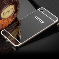 Двухкомпонентный чехол c металлическим бампером с поликарбонатной накладкой и зеркальным покрытием для Lenovo S90  Черный