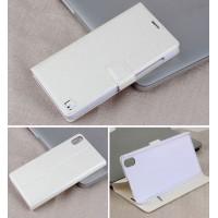 Чехол горизонтальная книжка подставка на пластиковой основе с отсеком для карт на магнитной защелке для Lenovo S850  Белый
