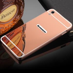 Двухкомпонентный чехол c металлическим бампером с поликарбонатной накладкой и зеркальным покрытием для Lenovo S850  Розовый