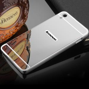 Двухкомпонентный чехол c металлическим бампером с поликарбонатной накладкой и зеркальным покрытием для Lenovo S850  Белый