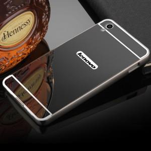 Двухкомпонентный чехол c металлическим бампером с поликарбонатной накладкой и зеркальным покрытием для Lenovo S850  Черный