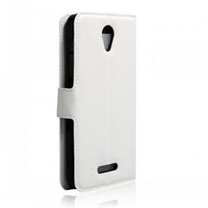 Чехол портмоне подставка на силиконовой основе на магнитной защелке для Alcatel Pop 4 Белый