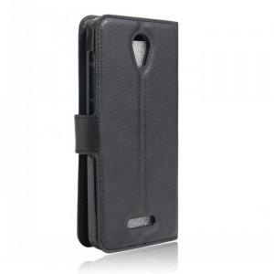 Чехол портмоне подставка на силиконовой основе на магнитной защелке для Alcatel Pop 4 Черный