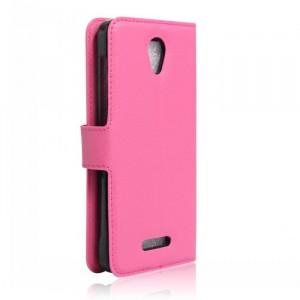Чехол портмоне подставка на силиконовой основе на магнитной защелке для Alcatel Pop 4 Пурпурный