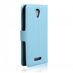 Чехол портмоне подставка на силиконовой основе на магнитной защелке для Alcatel Pop 4 Голубой