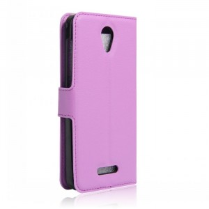 Чехол портмоне подставка на силиконовой основе на магнитной защелке для Alcatel Pop 4 Фиолетовый