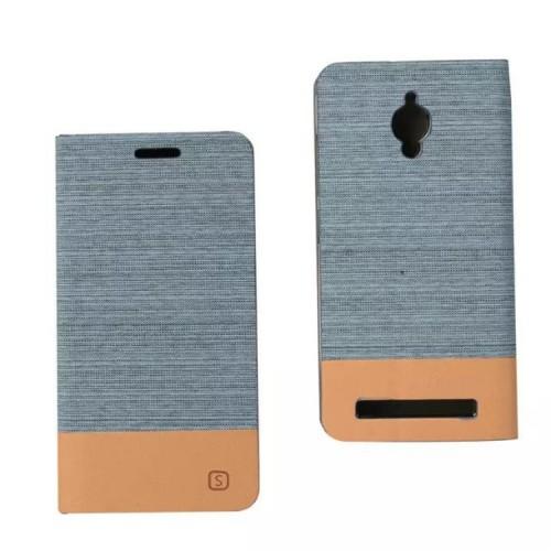 Чехол горизонтальная книжка подставка на силиконовой основе с отсеком для карт и тканевым покрытием для ASUS Zenfone Go
