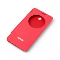 Чехол горизонтальная книжка на пластиковой встраиваемой основе с окном вызова для ASUS Zenfone Go  Красный