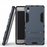 Противоударный двухкомпонентный силиконовый матовый непрозрачный чехол с поликарбонатными вставками экстрим защиты с встроенной ножкой-подставкой для Sony Xperia X  Синий