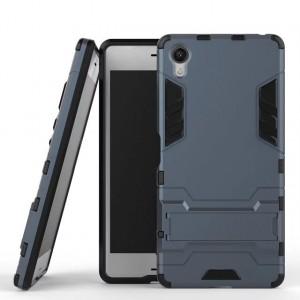 Противоударный двухкомпонентный силиконовый матовый непрозрачный чехол с поликарбонатными вставками экстрим защиты с встроенной ножкой-подставкой для Sony Xperia X