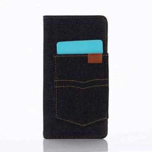Чехол портмоне на силиконовой основе с отсеком для карт и тканевым покрытием для Sony Xperia X  Черный