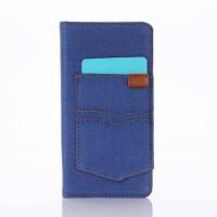 Чехол портмоне на силиконовой основе с отсеком для карт и тканевым покрытием для Sony Xperia X  Голубой