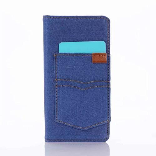 Чехол портмоне на силиконовой основе с отсеком для карт и тканевым покрытием для Sony Xperia X
