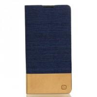 Чехол горизонтальная книжка подставка на силиконовой основе с тканевым покрытием для Sony Xperia X