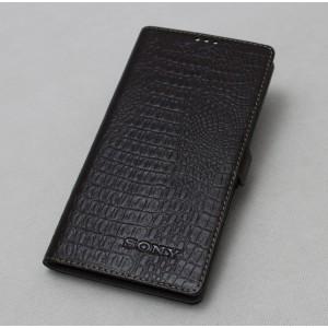 Кожаный чехол горизонтальная книжка подставка текстура Крокодил на пластиковой основе на магнитной защелке для Sony Xperia X  Коричневый