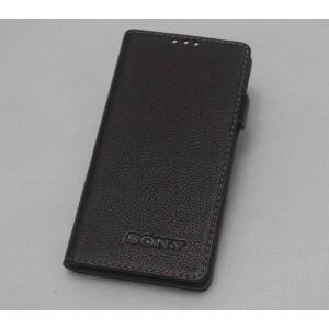 Кожаный чехол горизонтальная книжка подставка на пластиковой основе на магнитной защелке для Sony Xperia X