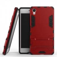 Противоударный двухкомпонентный силиконовый матовый непрозрачный чехол с поликарбонатными вставками экстрим защиты с встроенной ножкой-подставкой для Sony Xperia XA  Красный