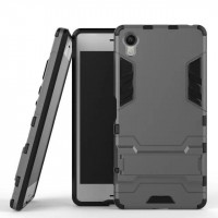 Противоударный двухкомпонентный силиконовый матовый непрозрачный чехол с поликарбонатными вставками экстрим защиты с встроенной ножкой-подставкой для Sony Xperia XA  Серый