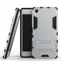 Противоударный двухкомпонентный силиконовый матовый непрозрачный чехол с поликарбонатными вставками экстрим защиты с встроенной ножкой-подставкой для Sony Xperia XA  Белый