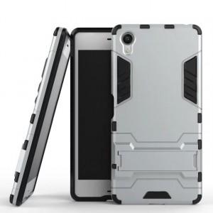 Противоударный двухкомпонентный силиконовый матовый непрозрачный чехол с поликарбонатными вставками экстрим защиты с встроенной ножкой-подставкой для Sony Xperia XA