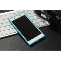 Металлический округлый бампер на пряжке для Sony Xperia XA Голубой