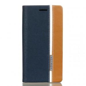 Чехол горизонтальная книжка подставка на силиконовой основе с отсеком для карт и тканевым покрытием для Sony Xperia XA  Синий