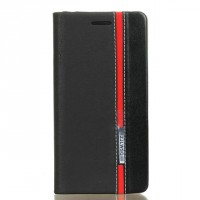 Чехол горизонтальная книжка подставка на силиконовой основе с отсеком для карт и тканевым покрытием для Sony Xperia XA  Черный