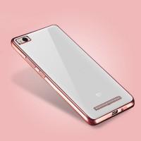 Силиконовый матовый полупрозрачный чехол с текстурным покрытием Металлик для Xiaomi Mi4i  Розовый