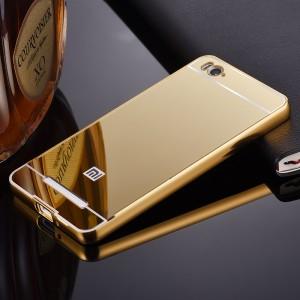Двухкомпонентный чехол c металлическим бампером с поликарбонатной накладкой и зеркальным покрытием для Xiaomi Mi4i Бежевый