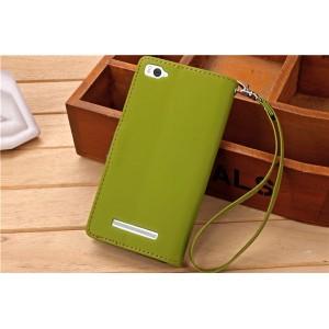 Чехол портмоне подставка на силиконовой основе на дизайнерской магнитной защелке для Xiaomi Mi4i Зеленый
