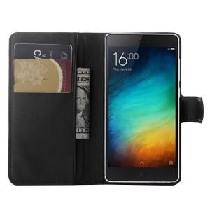Чехол портмоне подставка на пластиковой основе на магнитной защелке для Xiaomi Mi4i  Черный