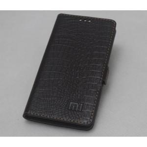 Кожаный чехол горизонтальная книжка подставка с отделкой Крокодил на силиконовой основе на магнитной защелке для Xiaomi Mi4i  Черный