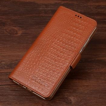 Кожаный чехол горизонтальная книжка подставка (премиум нат. кожа крокодила) с крепежной застежкой для Xiaomi Mi4i