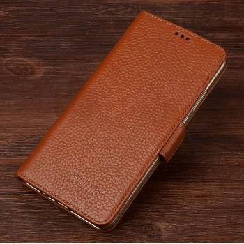 Кожаный чехол горизонтальная книжка подставка (премиум нат. кожа) с крепежной застежкой для Xiaomi Mi4i