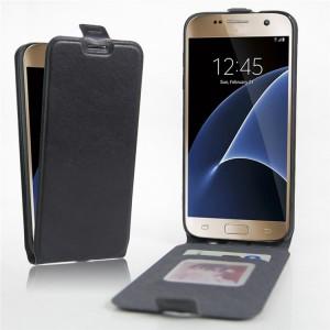Чехол вертикальная книжка на силиконовой основе с отсеком для карт на магнитной защелке для Samsung Galaxy S7 Черный
