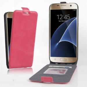 Чехол вертикальная книжка на силиконовой основе с отсеком для карт на магнитной защелке для Samsung Galaxy S7 Пурпурный