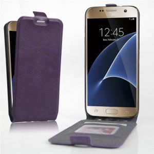 Чехол вертикальная книжка на силиконовой основе с отсеком для карт на магнитной защелке для Samsung Galaxy S7 Фиолетовый