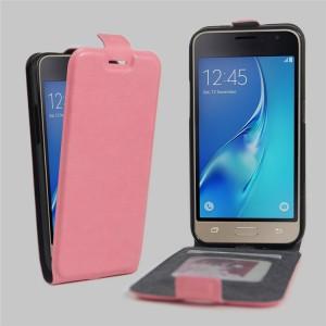 Чехол вертикальная книжка на силиконовой основе с отсеком для карт на магнитной защелке для Samsung Galaxy J1 (2016) Розовый