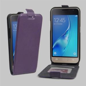 Чехол вертикальная книжка на силиконовой основе с отсеком для карт на магнитной защелке для Samsung Galaxy J1 (2016) Фиолетовый