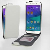 Чехол вертикальная книжка на силиконовой основе с отсеком для карт на магнитной защелке для Samsung Galaxy S6 Edge Белый