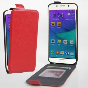 Чехол вертикальная книжка на силиконовой основе с отсеком для карт на магнитной защелке для Samsung Galaxy S6 Edge Красный